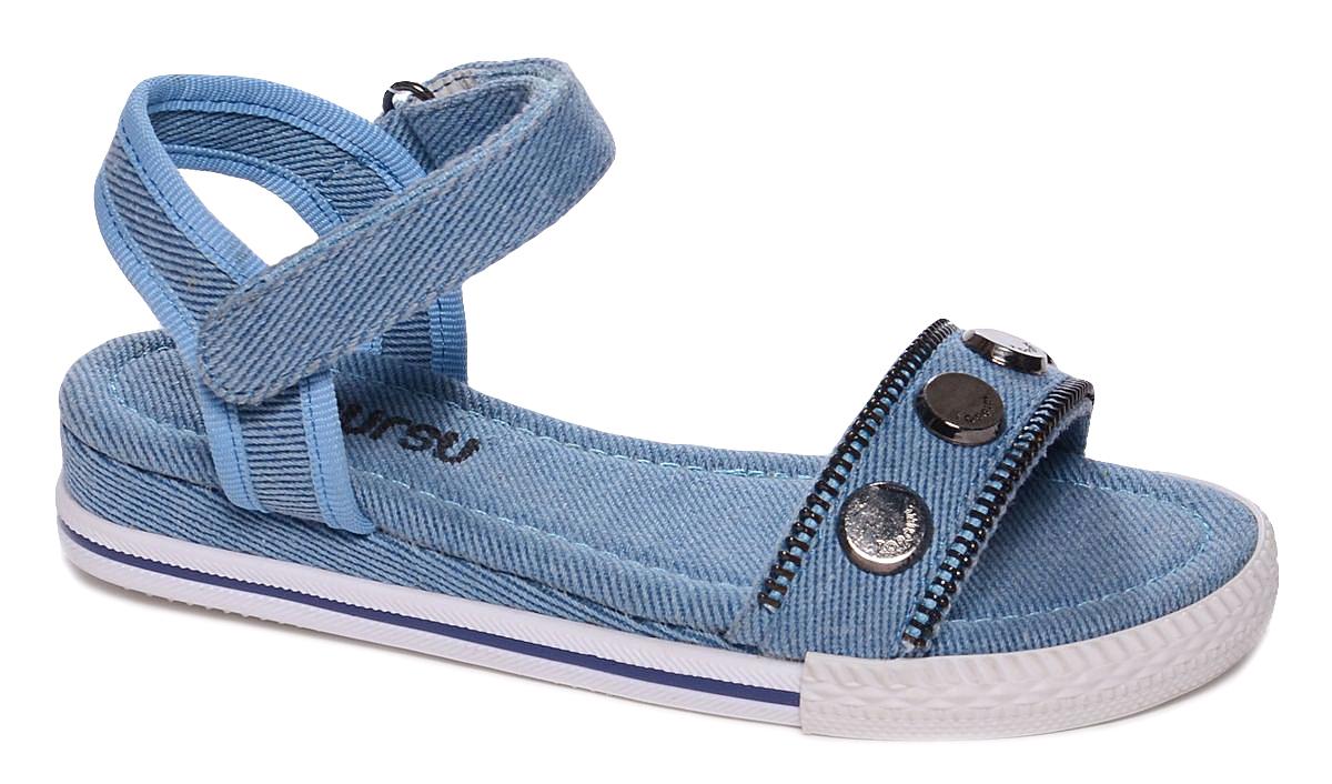 Босоножки для девочки Mursu, цвет: голубой. 101754. Размер 32101754Босоножки для девочки Mursu выполнены из качественного текстиля и оформлены декоративными элементами. Ремешок с липучкой обеспечит оптимальную посадку модели на ноге.