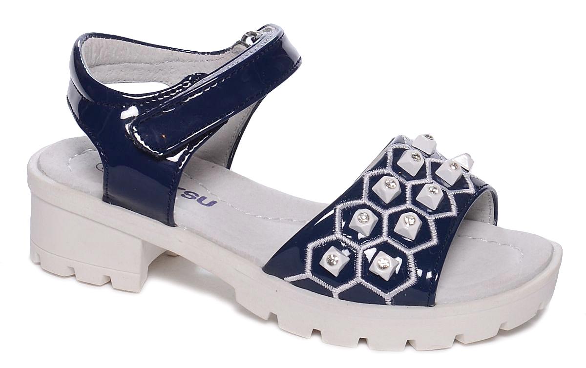 Босоножки для девочки Mursu, цвет: темно-синий. 101498. Размер 32101498Босоножки для девочки Mursu выполнены из качественной искусственной кожи и оформлены декоративными стразами. Ремешок с липучками обеспечит оптимальную посадку модели на ноге. Кожаная стелька придаст максимальный комфорт при движении. Подошва оснащена рифлением для лучшего сцепления с различными поверхностями.