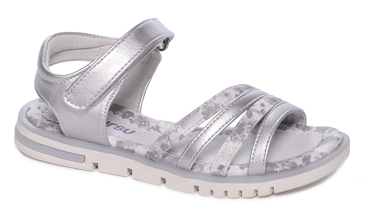 Босоножки для девочки Mursu, цвет: серый, серебряный. 101493. Размер 34101493Босоножки для девочки Mursu выполнены из качественной искусственной кожи и оформлены оригинальным рисунком. Ремешок с липучками обеспечит оптимальную посадку модели на ноге. Кожаная стелька придаст максимальный комфорт при движении. Подошва оснащена рифлением для лучшего сцепления с различными поверхностями.