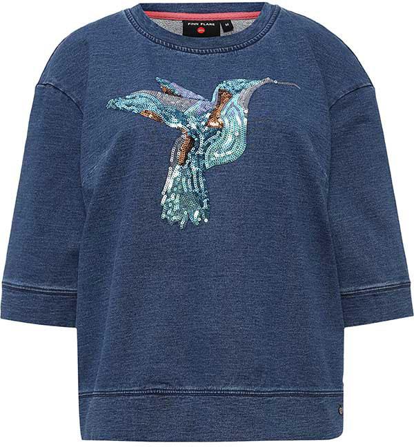 Джемпер женский Finn Flare, цвет: серо-голубой. B17-32032_105. Размер M (46)B17-32032_105Джемпер женский Finn Flare выполнен из вискозы и эластана. Модель с круглым вырезом горловины и рукавами 3/4.
