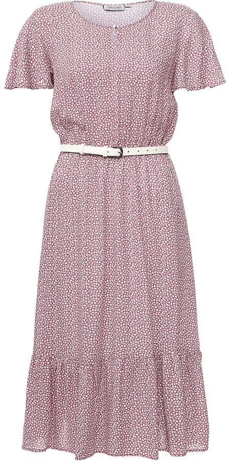 Платье Finn Flare, цвет: серо-розовый. S17-11050_824. Размер L (48)S17-11050_824Платье Finn Flare выполнено из вискозы. Модель с круглым вырезом горловины и короткими рукавами.