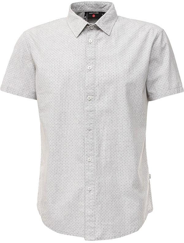 Рубашка мужская Finn Flare, цвет: светло-серый. S17-42011_211. Размер M (48)S17-42011_211Рубашка мужская Finn Flare выполнена из натурального хлопка. Модель с отложным воротником и короткими рукавами застегивается на пуговицы.