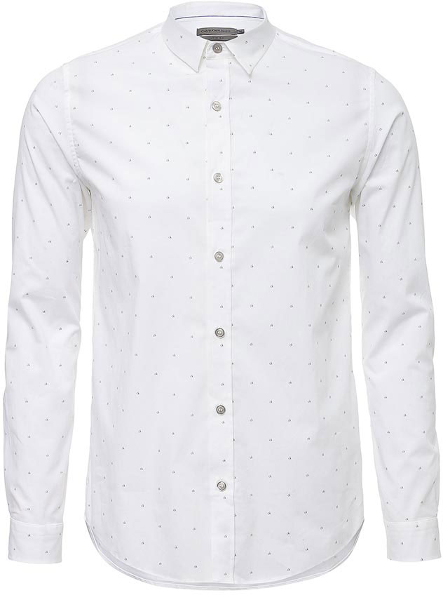 Рубашка мужская Calvin Klein Jeans, цвет: белый. J30J304608. Размер XXL (52/54)J30J304608Рубашка Calvin Klein Jeans выполнена из натурального хлопка с добавлением эластана. Модель с отложным воротником и стандартным длинным рукавом оформлена фирменным принтом. Рубашка застегивается с помощью пуговиц.