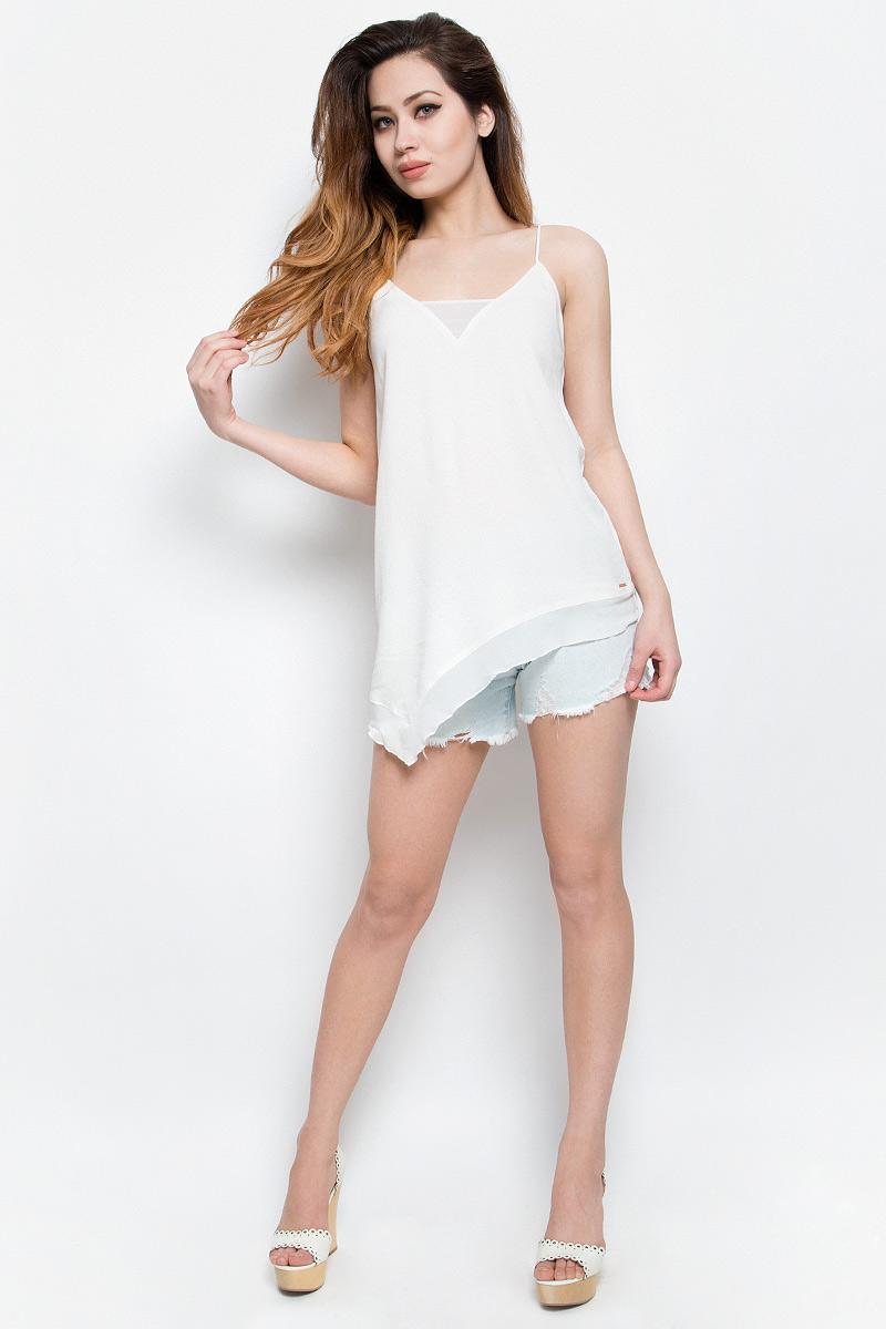 Топ женский Calvin Klein Jeans, цвет: белый. J20J201237. Размер L (48/50)J20J201237Нежный женский топ Calvin Klein Jeans выполнен из качественной вискозы с отделкой из полиэстера. Модель на бретелях с V-образным воротом выполнена в нестандартной форме. Правая сторона изделия удлинена, а низ и вырез горловины дополнены вставками из полупрозрачной ткани. Топ оформлен небольшой металлической пластиной с названием бренда.