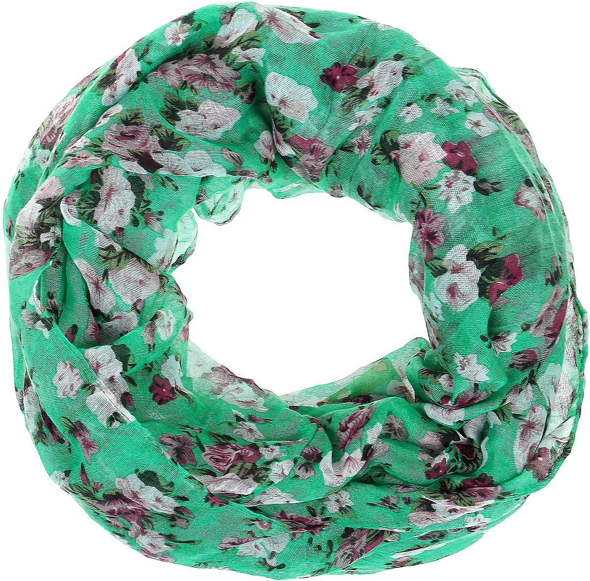 Снуд женский Vittorio Richi, цвет: зеленый. Ro02PC3054/32-1. Размер 70 см х 90 смRo02PC3054/32-1Снуд из легкой хлопкоподобной ткани. Принт.