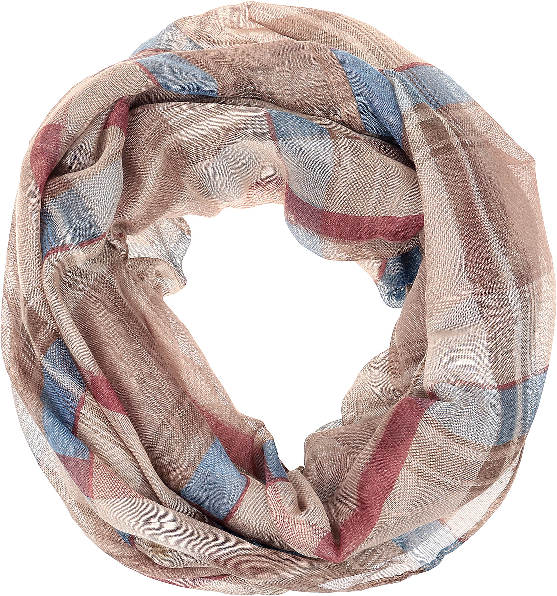 Снуд женский Vittorio Richi, цвет: голубой, коричневый. Ro02PC3054/9556-2. Размер 70 см х 90 смRo02PC3054/9556-2Снуд из легкой хлопкоподобной ткани. Принт.