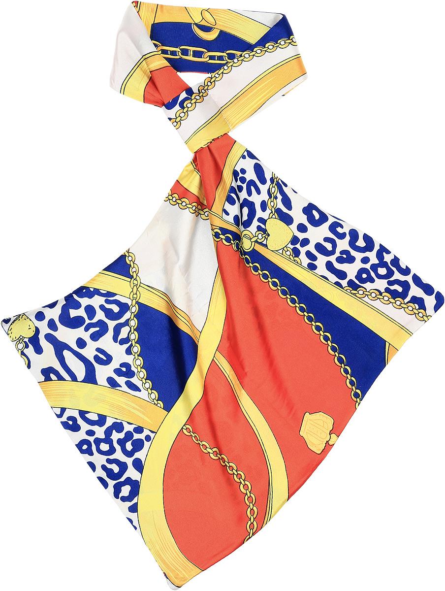 Палантин женский Vittorio Richi, цвет: синий. Ro02А203/28-1. Размер 61 см х 33 смRo02А203/28-1Палантин - франтон (французкий галстук). Принт.