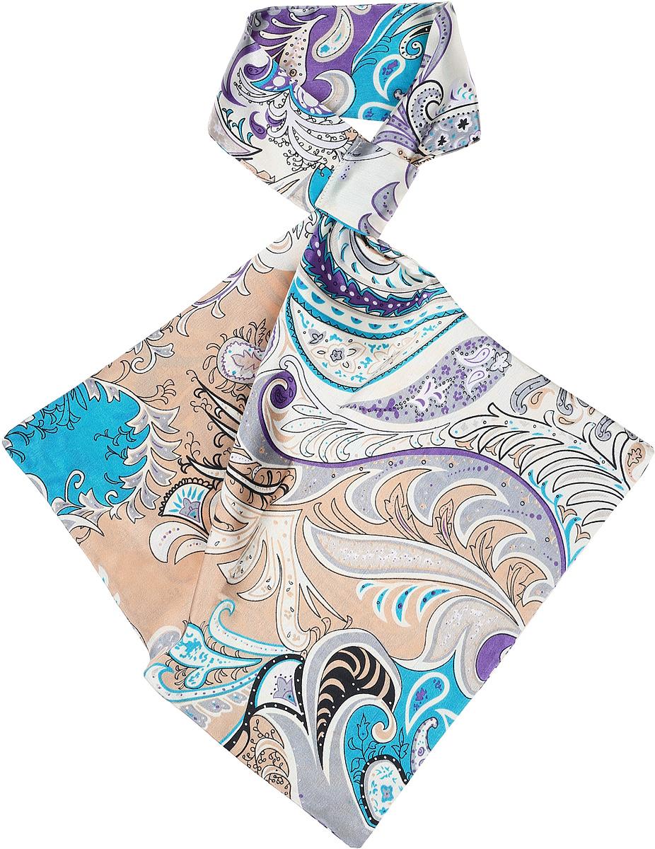 Палантин женский Vittorio Richi, цвет: серый. Ro02А203/27. Размер 61 см х 33 смRo02А203/27Палантин - франтон (французкий галстук). Принт.