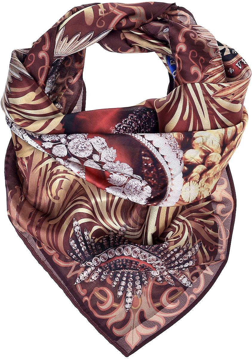 Платок женский Vitta pelle, цвет: коричневый, бежевый. Ro02КС372/SP3A-1. Размер 70 см х 70 смRo02КС372/SP3A-1Платок с фотопринтом. Край – американка.