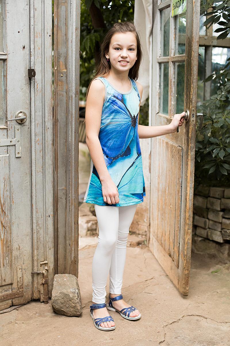 Майка для девочки Luminoso, цвет: ярко-голубой. 718063. Размер 158718063Удлиненная майка-топ с 3D эффектом.