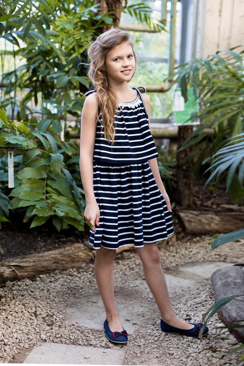 Сарафан для девочки Luminoso, цвет: синий, белый. 718107. Размер 164718107Трикотажный сарафан в полоску на регулируемых бретелях.