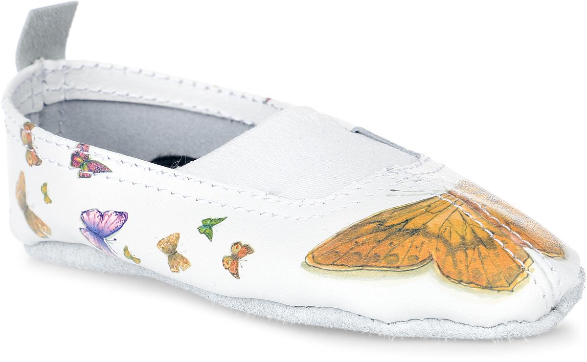 Чешки детские The Cheshki Бабочки, цвет: белый, желтый. 205. Размер 32205Детские чешки Бабочки от The Cheshki предназначены для занятий танцами и гимнастикой. Модель изготовлена из натуральной кожи, благодаря чему впитывает влагу и позволяет коже ног дышать. Чешки оформлены изображением бабочек. Съемная стелька из бамбука обеспечивает комфорт. Подъем дополнен эластичной резинкой для лучшей посадки модели на ноге. Подошва выполнена из натуральной кожи.