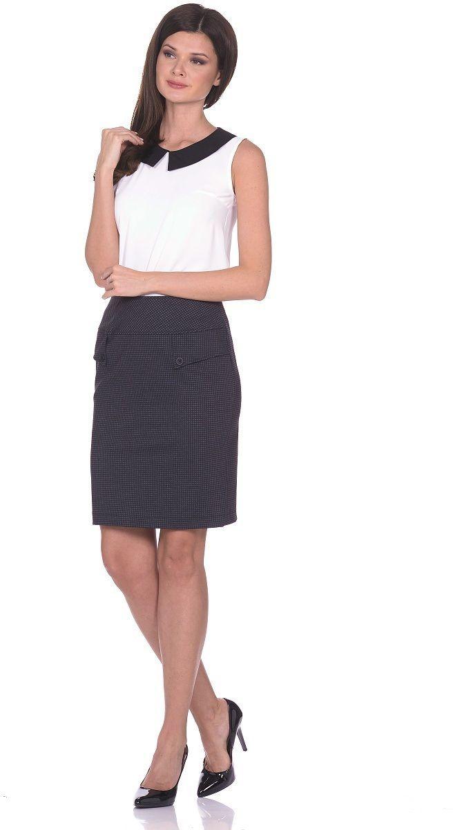 Юбка Milton, цвет: черный. WD-1604F. Размер 48WD-1604FПрямая юбка на подкладке, с кокетками. Спереди обработан фигурный вырез, по которому пришиты отделочные пуговицы. Сзади по среднему шву - разрез.