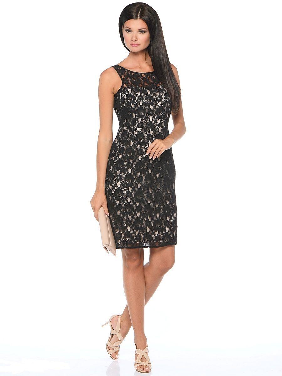 Платье Milton, цвет: черный, бежевый. WD-2415V. Размер 50WD-2415VПлатье-чехол полуприлегающего силуэта, без рукавов, верхний слой - из гипюра.