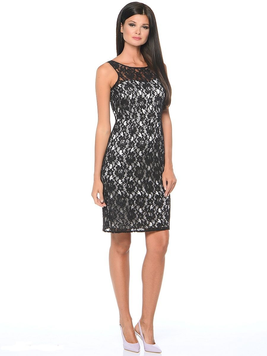 Платье Milton, цвет: черный, белый. WD-2415V. Размер 46WD-2415VПлатье-чехол полуприлегающего силуэта, без рукавов, верхний слой - из гипюра.