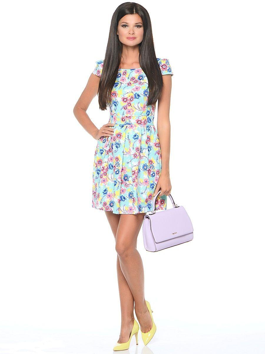 Платье Milton, цвет: бирюзовый. WD-2474F. Размер 46WD-2474FПлатье прилегающего силуэта, с короткими рукавами в виде крылышек, отрезное по линии талии. Юбка расклешенная, со складками от талии.