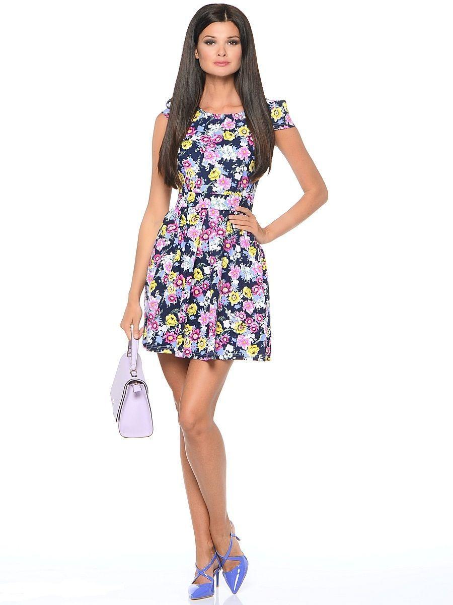 Платье Milton, цвет: темно-синий. WD-2474F. Размер 48WD-2474FПлатье прилегающего силуэта, с короткими рукавами в виде крылышек, отрезное по линии талии. Юбка расклешенная, со складками от талии.