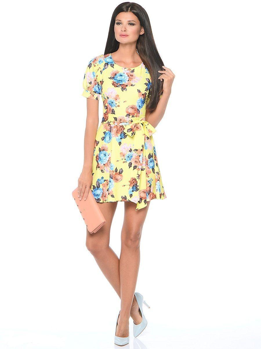 Платье Milton, цвет: желтый. WD-2479F. Размер 48WD-2479FПлатье прилегающего силуэта, без рукавов, отрезное по линии талии, с круглым вырезом горловины. Юбка расклешенная, со съемным поясом.