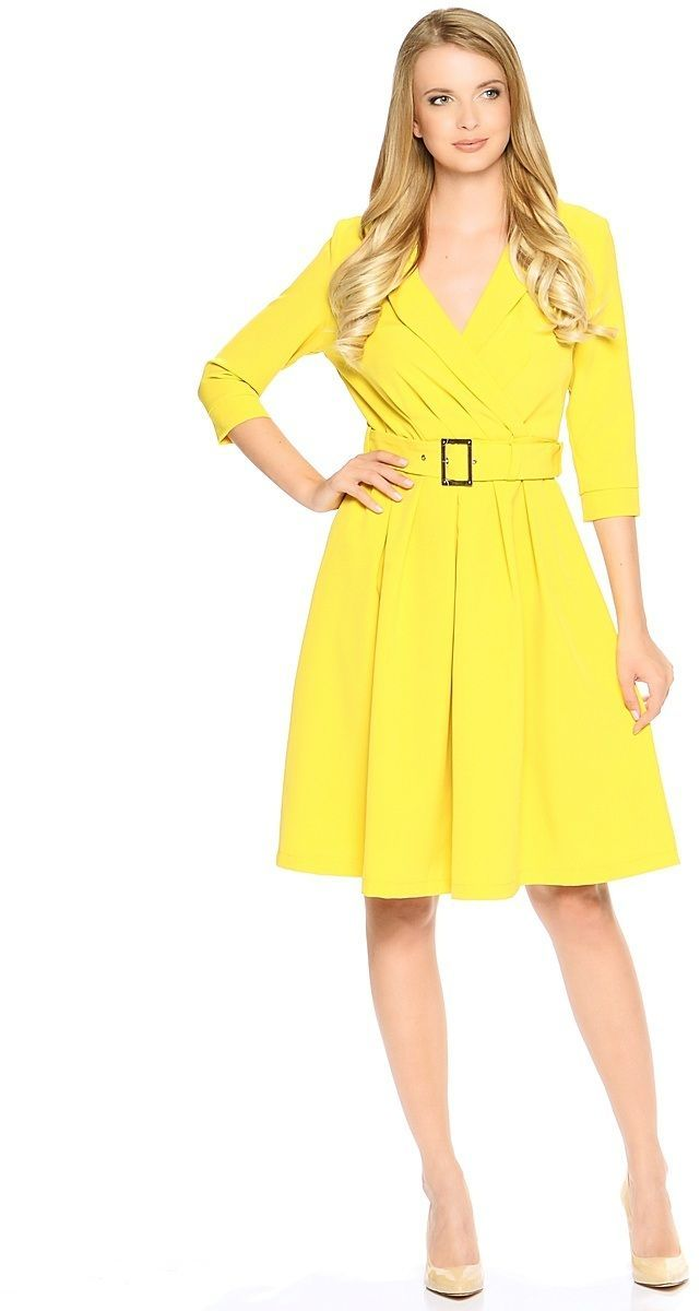 Платье Milton, цвет: желтый. WD-2609F. Размер 48WD-2609FПлатье полуприлегающего силуэта, с втачными рукавами длиной 3/4, с манжетами, отрезное по талии, со съемным поясом с пряжкой. Воротник-шалька. Юбка расклешенная, со складками от талии.