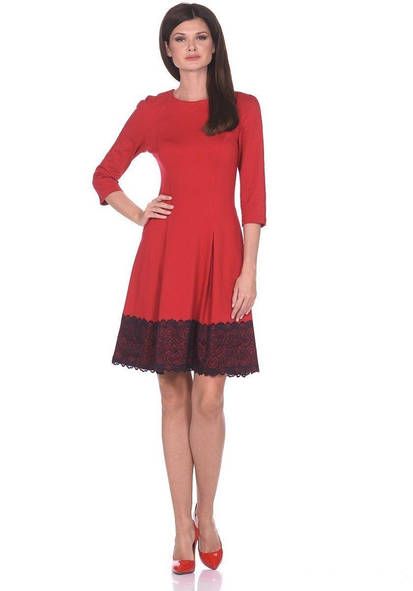 Платье Milton, цвет: красный. WD-2613F. Размер 46WD-2613FПлатье прилегающего силуэта, расклешенное к низу, с рукавом покроя реглан. По низу платья настрочена широкая кружевная тесьма.