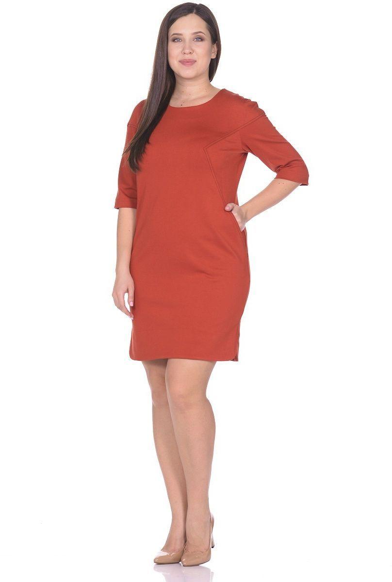 Платье Milton, цвет: терракотовый. WD-2615F. Размер 52WD-2615FПлатье со спущенной линией плеча, в нижней части рельефов - внутренние карманы. По низу боковых швов обработаны разрезы закругленной формы, рукав двухшовный длиной 1/2.