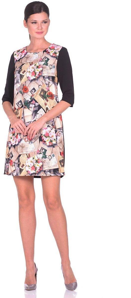 Платье Milton, цвет: черный, цветы. WD-2616F. Размер 48WD-2616FТрикотажное платье А-образного силуэта, рукава втачные, длиной 1/2.