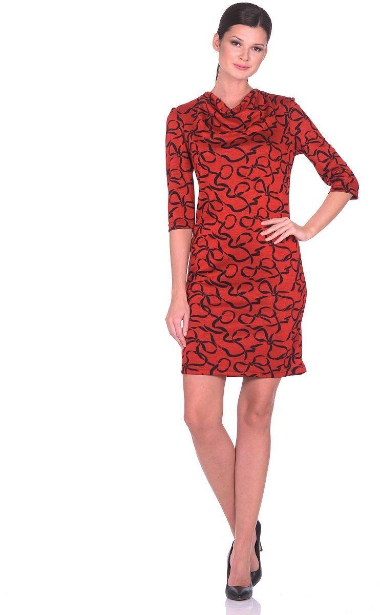Платье Milton, цвет: темно-красный. WD-2617F. Размер 48WD-2617FТрикотажное платье прямого силуэта с воротником-хомутом. Рукава втачные длиной 1/2.