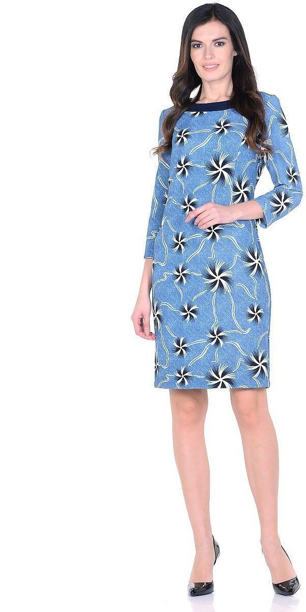 Платье Milton, цвет: голубой. WD-2619F. Размер 44WD-2619FТрикотажное платье полуприлегающего силуэта, с отделочными деталями из контрастного однотонного трикотажа. Рукав - 3/4.