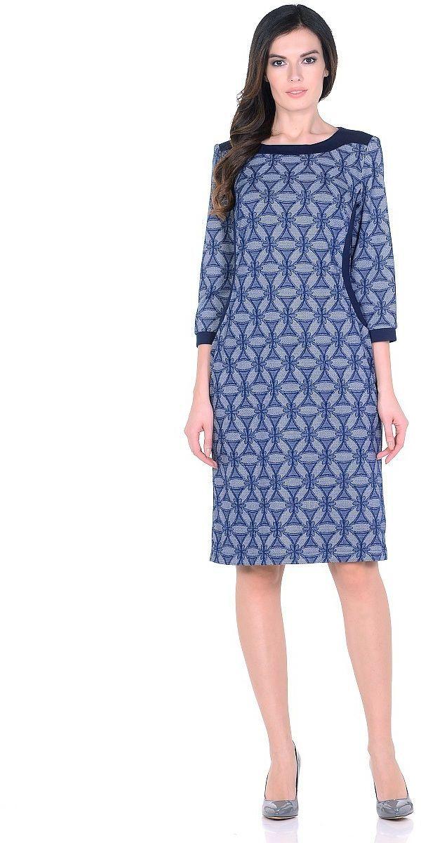 Платье Milton, цвет: синий. WD-2620F. Размер 50WD-2620FТрикотажное платье полуприлегающего силуэта, с отделочными деталями из контрастного однотонного трикотажа. Рукав - 3/4.