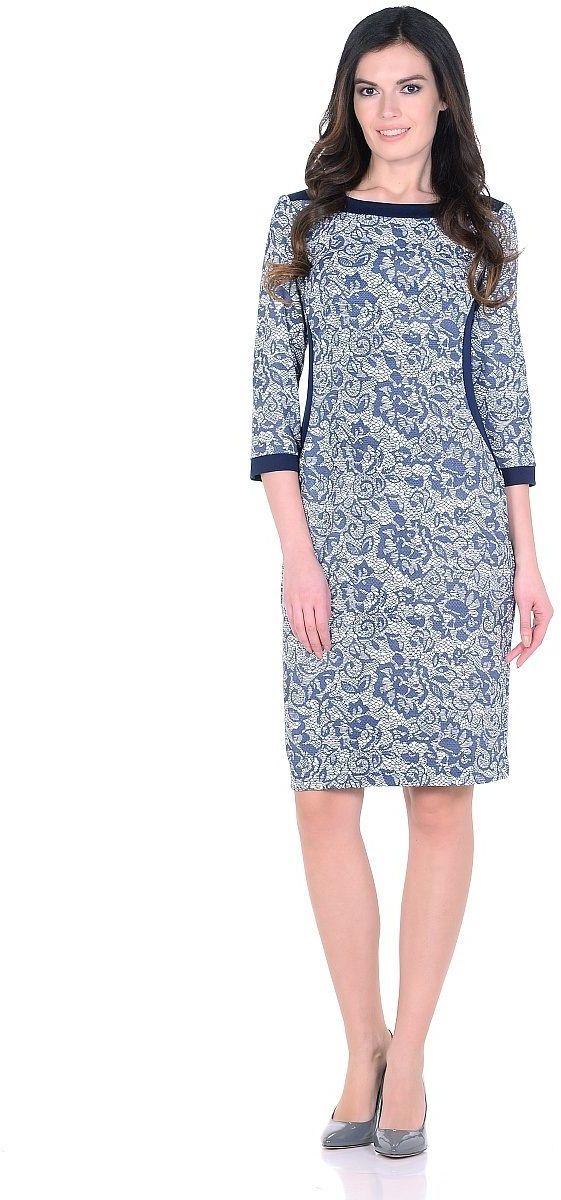 Платье Milton, цвет: синий. WD-2622F. Размер 46WD-2622FТрикотажное платье полуприлегающего силуэта, с отделочными деталями из контрастного однотонного трикотажа. Рукав - 3/4.