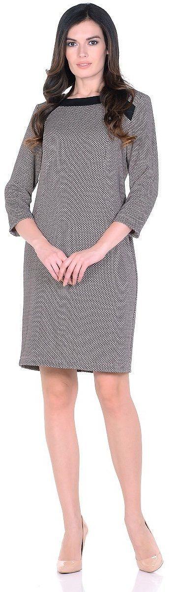 Платье Milton, цвет: светло-коричневый. WD-2623F. Размер 44WD-2623FТрикотажное платье полуприлегающего силуэта, с отделочными деталями из контрастного однотонного трикотажа. Рукав - 3/4.