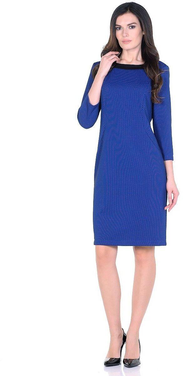 Платье Milton, цвет: васильковый. WD-2623F. Размер 46WD-2623FТрикотажное платье полуприлегающего силуэта, с отделочными деталями из контрастного однотонного трикотажа. Рукав - 3/4.