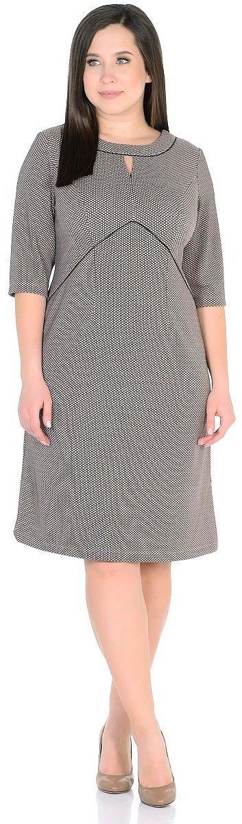 Платье Milton, цвет: светло-коричневый. WD-2624F. Размер 50WD-2624FТрикотажное платье А-образного силуэта, подрезы переда отделаны кантом. Рукав 3/4.