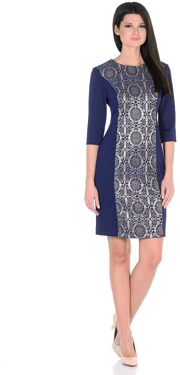 Платье Milton, цвет: синий. WD-2625F. Размер 50WD-2625FПлатье комбинированное, из однотонного трикотажа и текстиля с гипюром, полуприлегающего силуэта, рукав - 3/4.