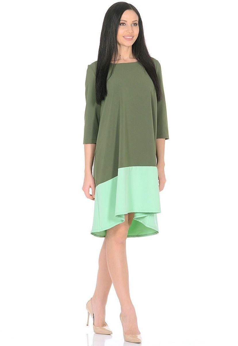 Платье Milton, цвет: темно-зеленый, салатовый. WD-2626F. Размер 48WD-2626FПлатье А-образного силуэта, широкая кайма по низу - из контрастной ткани, рукав - 3/4.