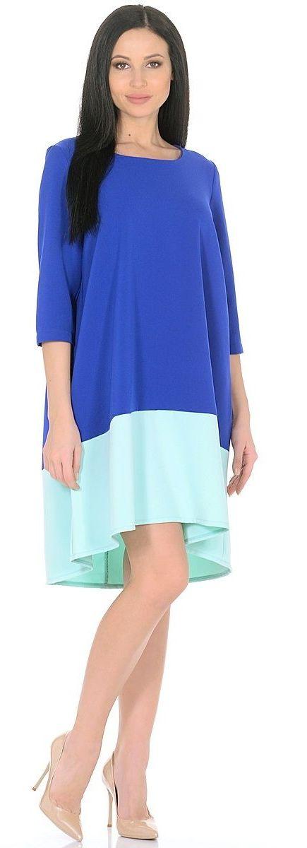Платье Milton, цвет: синий, голубой. WD-2626F. Размер 48WD-2626FПлатье А-образного силуэта, широкая кайма по низу - из контрастной ткани, рукав - 3/4.