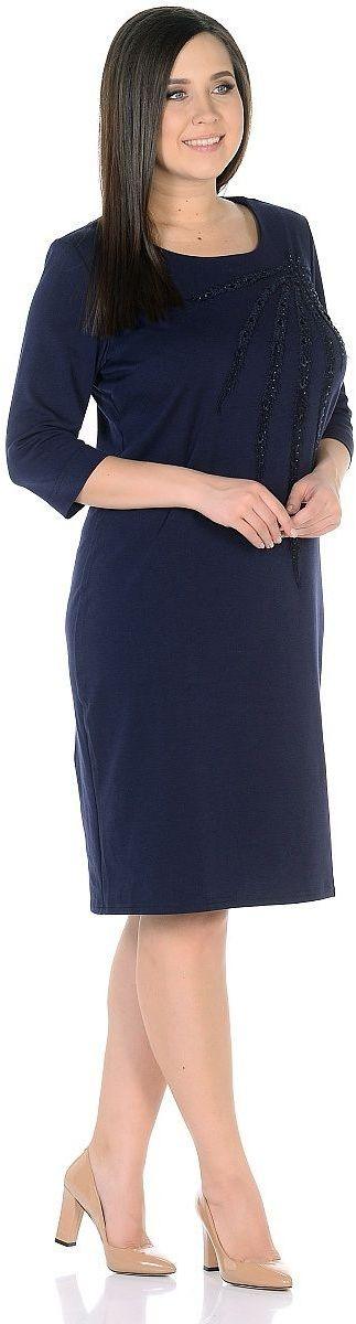 Платье Milton, цвет: синий. WD-2703C. Размер 58WD-2703CПлатье полуприлегающего силуэта, круглый вырез горловины, рукава длиной 3/4.
