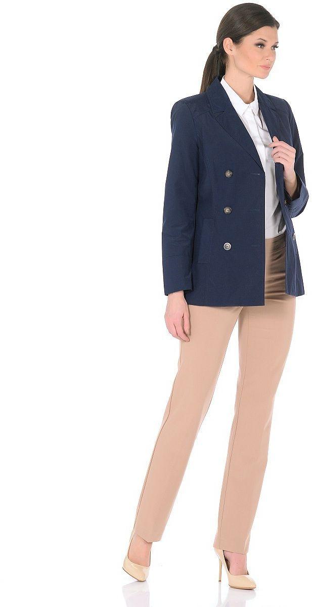 Жакет женский Milton, цвет: темно-синий. WJ-1626V. Размер 56WJ-1626VДвубортная куртка-жакет с классическим английским воротником и застежкой на пуговицы. В бочках переда обработаны карманы с листочками.