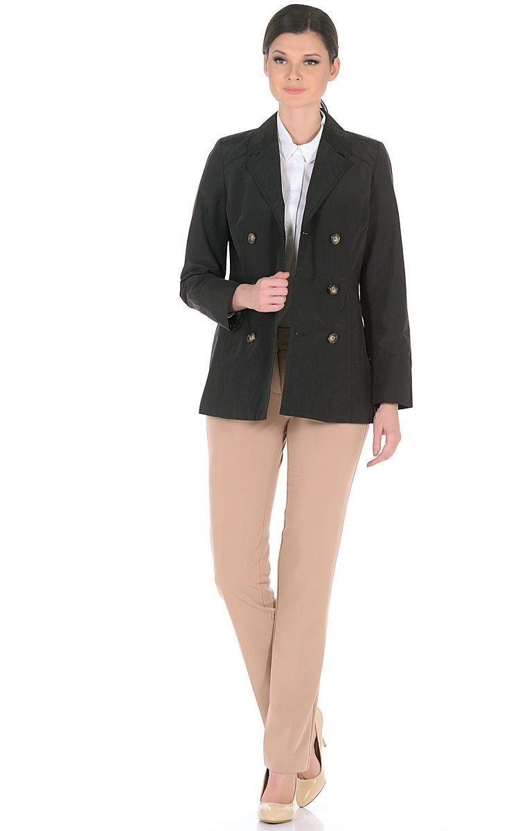 Жакет женский Milton, цвет: черный. WJ-1626V. Размер 48WJ-1626VДвубортная куртка-жакет с классическим английским воротником и застежкой на пуговицы. В бочках переда обработаны карманы с листочками.