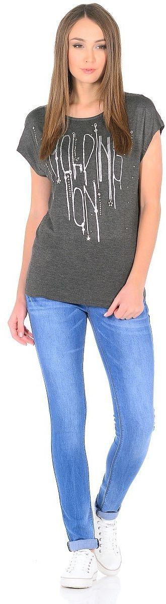 Футболка женская Milton, цвет: серый. WP-1701C. Размер 44WP-1701CВискозная футболка прямого покроя с короткими рукавами и со спущенной линией плеча. Спереди - принт со стразами.