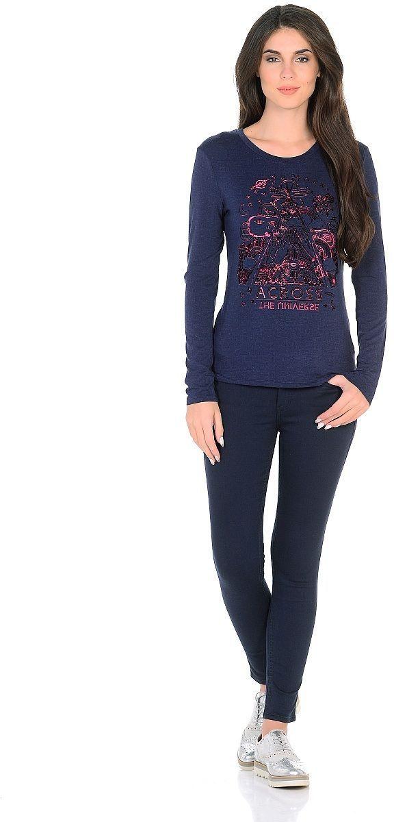 Джемпер женский Milton, цвет: темно-синий. WP-2703C. Размер 48WP-2703CТрикотажный лонгслив с втачными длинными рукавми, на полочке принт с бархатным напылением.
