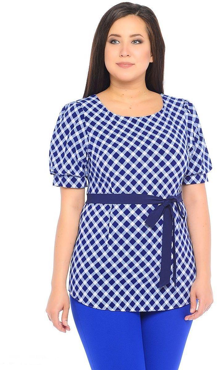 Блузка женская Milton, цвет: темно-синий. WP-6501F-1. Размер 50WP-6501F-1Блузка полуприлегающего силуэта, с короткими рукавами - фонариками, круглый вырез горловины. Комплектуется съемным поясом из однотонной контрастной ткани.