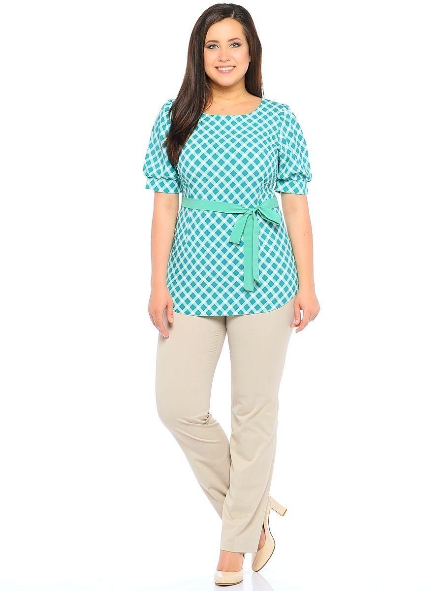 Блузка женская Milton, цвет: зеленый. WP-6501F-1. Размер 48WP-6501F-1Блузка полуприлегающего силуэта, с короткими рукавами - фонариками, круглый вырез горловины. Комплектуется съемным поясом из однотонной контрастной ткани.