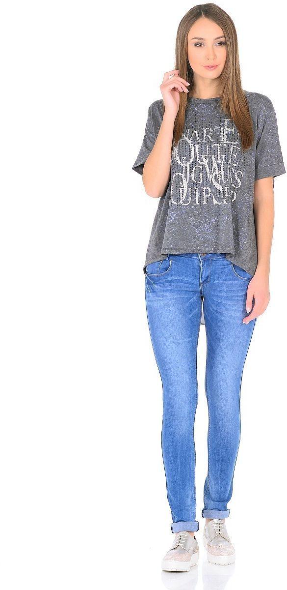 Джемпер женский Milton, цвет: серый. WP-6701C. Размер 44WP-6701CТрикотажный джемпер с цельнокроенным коротким рукавом, двухслойный, - нижний слой - из черного шифона. На полочке принт. Спинка с запАхом от горловины до низа.