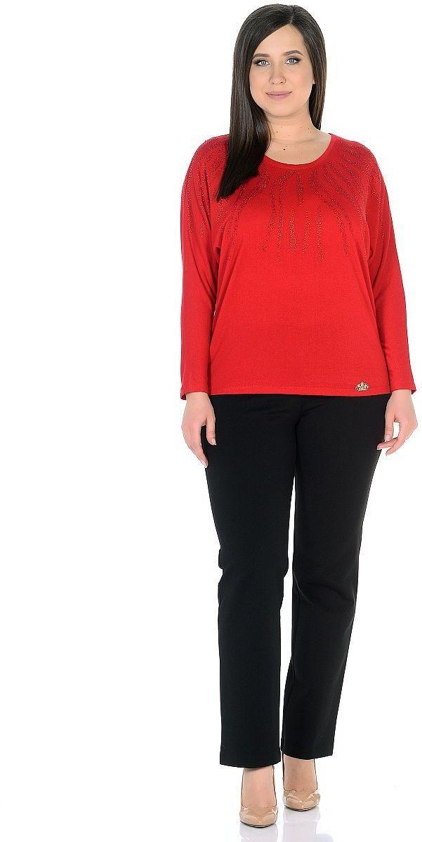 Джемпер женский Milton, цвет: красный. WS-2701C. Размер 48WS-2701CТрикотажный джемпер с цельнокроенными длинными рукавми, от горловины вниз и по плечам декорирован стразами.