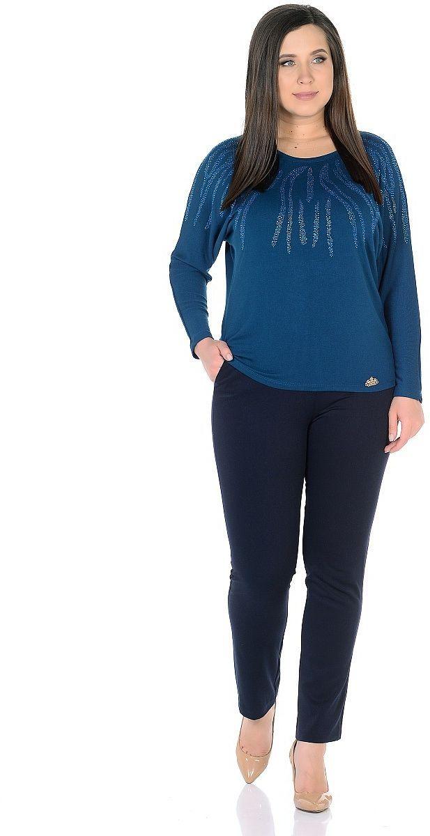 Джемпер женский Milton, цвет: темно-бирюзовый. WS-2701C. Размер 48WS-2701CТрикотажный джемпер с цельнокроенными длинными рукавми, от горловины вниз и по плечам декорирован стразами.
