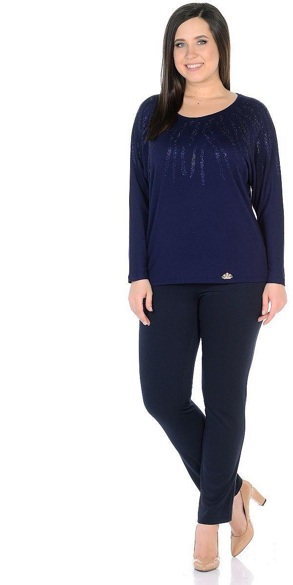 Джемпер женский Milton, цвет: синий. WS-2701C. Размер 56WS-2701CТрикотажный джемпер с цельнокроенными длинными рукавми, от горловины вниз и по плечам декорирован стразами.