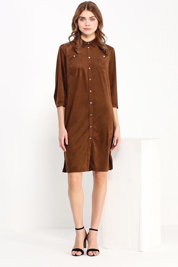 Платье Finn Flare, цвет: коричневый. B17-11025_617. Размер S (44)B17-11025_617Платье Finn Flare выполнено из полиэстера. Модель с отложным воротником и рукавами 3/4 застегивается на кнопки.