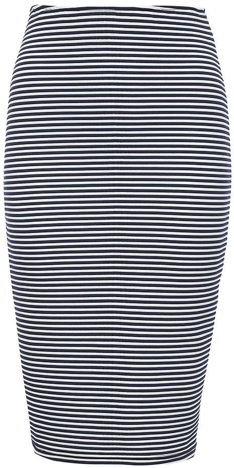 Юбка женская Baon, цвет: белый, синий. B477038_Milk-Dark Navy Striped. Размер M (46)B477038_Milk-Dark Navy StripedЮбка женская Baon выполнена из полиэстера и эластана. Модель оформлена принтом в полоску.