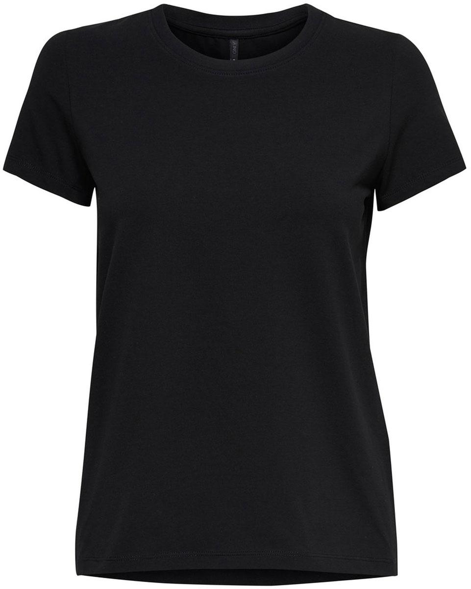 Футболка женская Only, цвет: черный. 15131591_Black. Размер S (42/44)15131591_BlackБазовая женская футболка Only изготовлена из хлопка с добавлением эластана. Модель имеет короткие рукава, прямой крой и круглый вырез горловины.